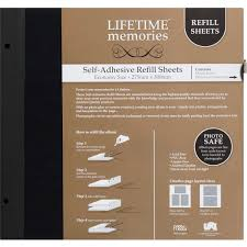 Photo Album With Adhesive Pages Lifetime Memories Self Adhesive Refill Sheets Economy 275 X 300