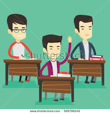 Picture Of Student Sitting At Desk Student Raising Hand Classroom Answer Happy Stock Vector 589796249