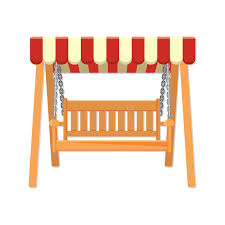 Striped Awning Garden Wooden Swing With Striped Awning Vector Illustration Stock