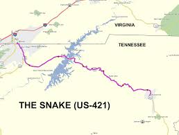 Tennessee Map Us by Roadrunner U0027s Bucket List Roads The Snake Aka Us 421 In Tennessee