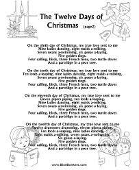printable christmas carol lyrics sheet the twelve days of