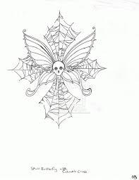 skull butterfly cobweb cross design by moonvixen8 on