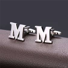 men cufflinks alphabet letter m french nail business shirts trendy