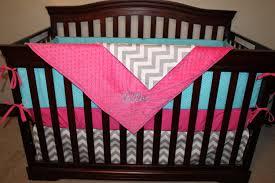 Pink And Aqua Crib Bedding Crib Bedding Aqua Dot Gray Chevron And Pink Crib