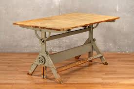 Large Drafting Table Rustic Industrial Large Drafting Table Only Furnish Green