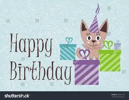 cute cat happy birthday card vector stock vector 284451263