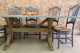 Zinc Top Bar Table Zinc Top Farm Table With X Trestle Base Ecustomfinishes