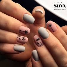 simple matte pink and grey with black flower nail art nails