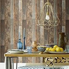 blooming wall vintage faux wood wallpaper rolls brown barnwood