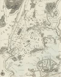 A Map Of New York City by A Map Of New York City In The Style Of Tolkien Print