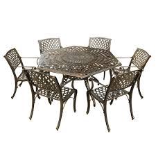 hexagon patio table and chairs contemporary modern 7 piece aluminum bronze hexagon outdoor dining
