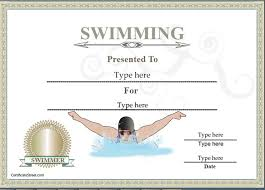 swimming award certificate template professional samples templates