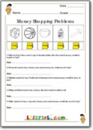 money shopping problems assessment worksheet printable money