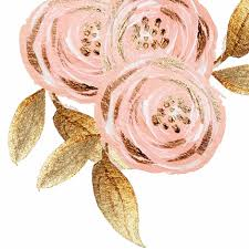 gold flowers glitz gold blush flower gold foiled floral pink