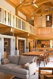 loft railing ideas dining room contemporary with exposed beams