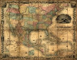 Mexico States Map by United States And Mexico 1857 Wall Map Mural