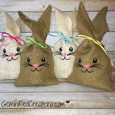 burlap gift bags burlap bunny gift bags place setting markers geminired creations