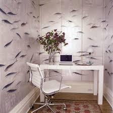 small home office with small home office with hilarious wallpaper