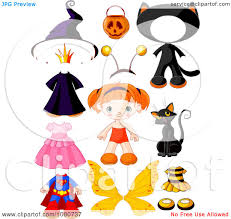 halloween clipart cute clipart cute red haired doll with halloween costumes and
