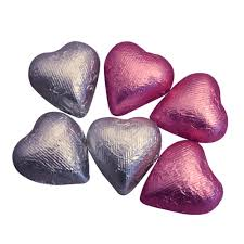 heart chocolates heart shaped milk chocolates in pink silver foils dilettante