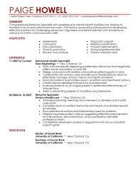 Social Service Worker Resume Sample by Behavior Specialist Resume Examples Social Services Resume Samples