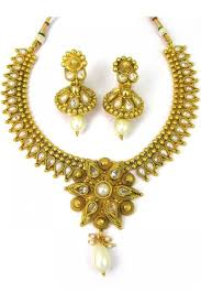 new necklace images Designer new polki necklace set with matching earrings 86926 jpg