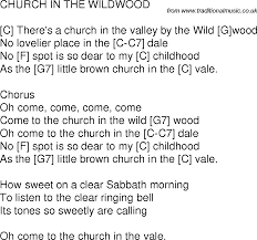 time song lyrics with guitar chords for church in the wildwood c