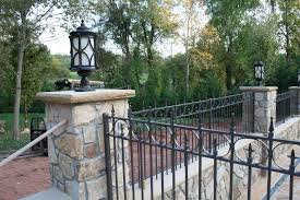 backyard wrought iron fence with and ls