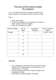 Sum Of The Interior Angles Of A Polygon Worksheet Sum Of Interior Angles Of Polygons By Jane Ch Teaching