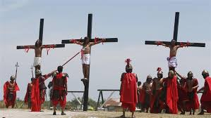 church crosses filipinos nailed to cross in easter ritual frowned on by church