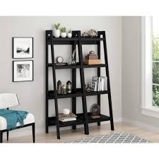 5 Shelf Ladder Bookcase by Ameriwood Home Lawrence 4 Shelf Ladder Bookcase Bundle Black Set