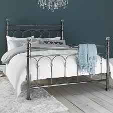 bentley cristina antique nickel finish metal bed frame double