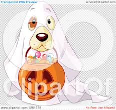 halloween dog background clipart of a cute dog trick or treating as a ghost on halloween