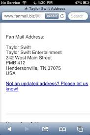 Taylor Swift Fan Mail Address Please Comment Below If You Ve Ever