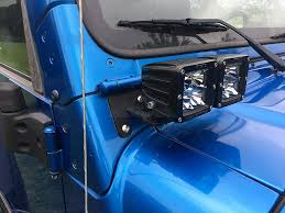 light blue jeep wrangler 2 door 97 06 jeep wrangler tj dual lower a pillar light mounting brackets