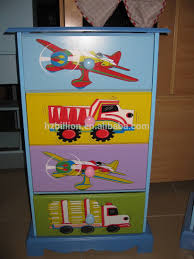 wooden hand painted boy kids room 4 drawer tallboy chest cabinet
