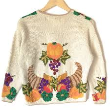 vintage 90s knit cornucopia of yum tacky thanksgiving