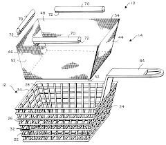 patent us6176175 fry basket with lever operated lid and fine