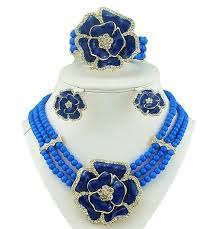 beautiful earring necklace set images 3 layer blue beads jewellery set with brooch pendant necklace jpg