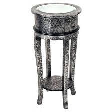 round silver accent table pair of black silver embossed metal mirror topped round shabby