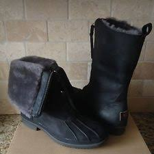 ugg haylie sale ugg australia size 8 haylie black leather loafers duck waterproof