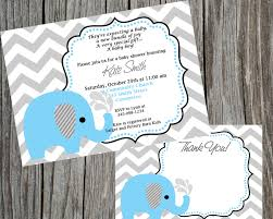 combo special blue elephant and chevron baby shower invitation