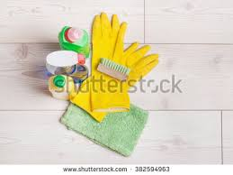 top view cleaning supplies tools house stock photo 383487205