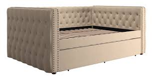 Button Tufted Sofa by Three Posts Scribner Button Tufted Linen Daybed With Trundle