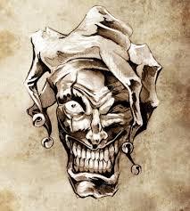 fantasy clown joker sketch of tattoo art over dirty background