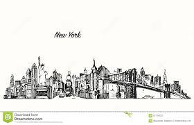 new york city skyline vector illustration sketch stock photo