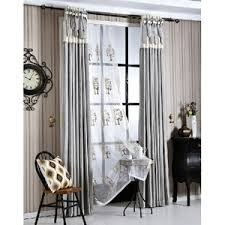 Black And White Modern Curtains White Patterned Embroidery Linen Country Curtains For Living Room
