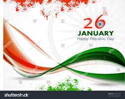 Festival Of Flags Happy Republic Day India Festival Waved Stock Vektorgrafik