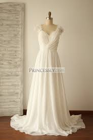 chiffon wedding dress a line cap sleeves lace chiffon wedding dress with sweep