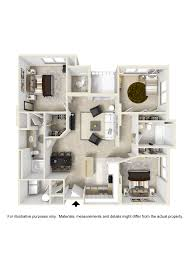 Three Bedroom Apartment Floor Plan by Apartment Floorplans City View Orlando Florida